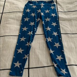 Lularoe Blue And White Star Leggings